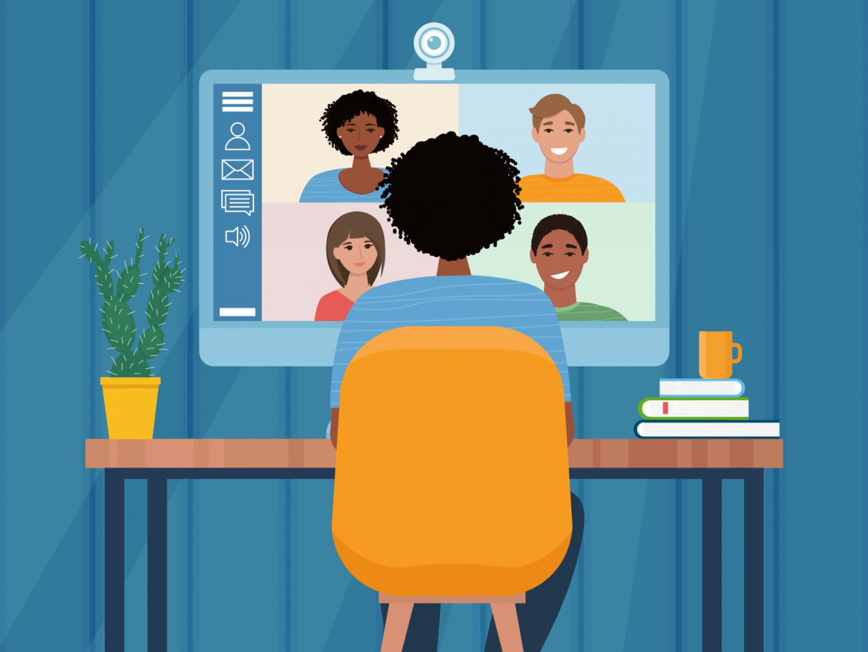 Illustration of an online class