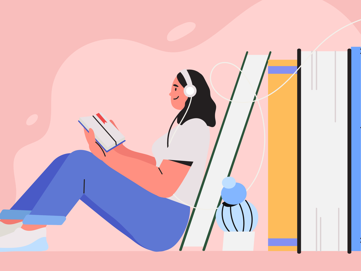 Illustration of a woman reading a book